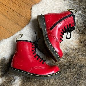 Dr. Martens Kids Red Patent Combat Boots